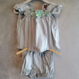 Embroidered top with shorts set